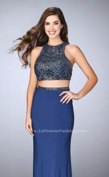 Picture of: Beaded Two Piece Gown with Racer Back and Belt in Blue, Style: 23759, Main Picture