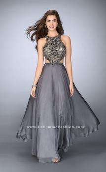 Picture of: Long Prom Dress with Beaded Top and Cut Outs, Style: 23761, Main Picture