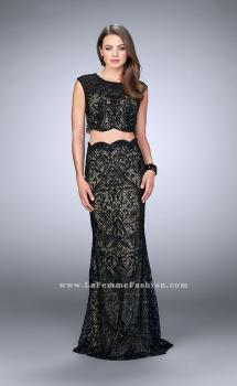 Picture of: Two Piece Dress with Scalloped Edges and Cap Sleeves in Black, Style: 23766, Main Picture