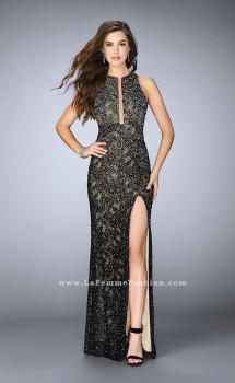 Picture of: High Neck Lace Dress with Keyhole and Cut Out Back in Black, Style: 23767, Main Picture