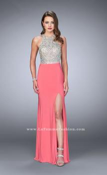 Picture of: High Neck Jersey Gown with Beaded Top and Open Back, Style: 23770, Main Picture