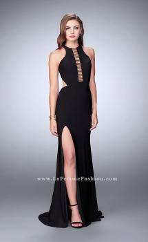 Picture of: Jersey Prom Dress with Gold Beading and Racer Back, Style: 23791, Main Picture