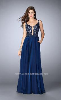 Picture of: A-line Chiffon Dress with Lace Top and Pockets in Blue, Style: 23802, Main Picture