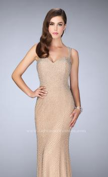 Picture of: Long Beaded Prom Dress with Open Back in Nude, Style: 23805, Main Picture