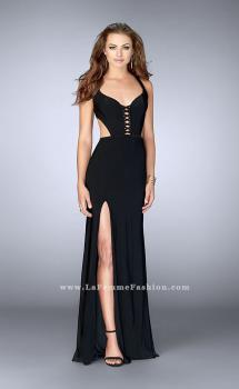 Picture of: Fitted jersey dress with a lace up front and back, Style: 23823, Main Picture