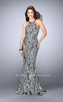 Picture of: High Neck Lace Dress with Thin Straps and Open Back in Black, Style: 23848, Main Picture
