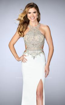 Picture of: Long Prom Dress with Sheer Beaded Top and Cut Outs, Style: 23852, Main Picture