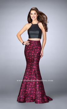 Picture of: Rose Print Two Piece Dress with Vegan Leather Top, Style: 23864, Main Picture
