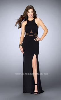 Picture of: High Neck Prom Dress with Sheer Cut Outs in Black, Style: 23882, Main Picture