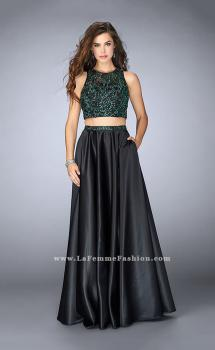 Picture of: Beaded Two Piece Dress with Full Satin Skirt in Black., Style: 23883, Main Picture