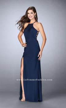 Picture of: Long High Neck Dress with Strappy Open Back and Slit in Blue, Style: 23886, Main Picture