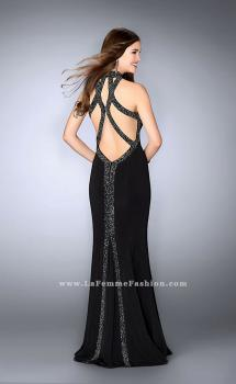 Picture of: Long Prom Dress with Beaded Collar Beaded Back in Black, Style: 23891, Main Picture