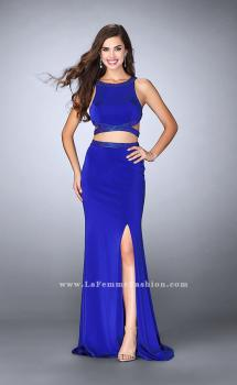 Picture of: Long Two Piece dress with Beading and Side Slit in Blue, Style: 23905, Main Picture