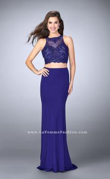 Picture of: Two Piece Beaded Lace Prom Dress with Jersey Skirt, Style: 23908, Main Picture