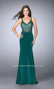 Picture of: Fitted Jersey Dress with Sheer Beaded Top and Cut Outs in Green, Style: 23909, Main Picture