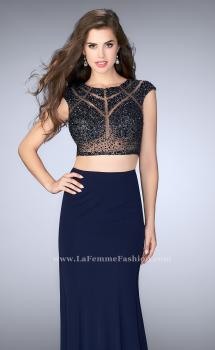 Picture of: Long Two Piece Prom Dress with cap sleeves, Style: 23910, Main Picture