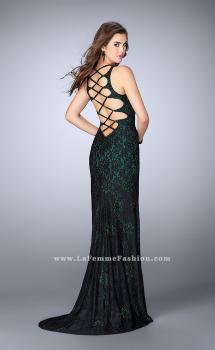 Picture of: High Neck Lace Dress with Side Slit and Strappy Back in Green, Style: 23923, Main Picture