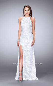 Picture of: Long Lace Prom Dress with High Neck and Side Slit in White, Style: 23930, Main Picture