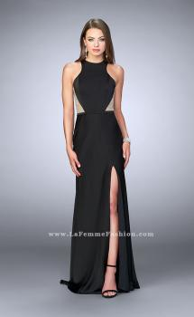Picture of: Long Jersey Prom Dress with Sheer Sides and Back in Black, Style: 23931, Main Picture