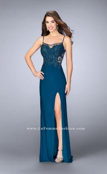 Picture of: Fitted Lace Dress with Sheer Neckline and Beading in Blue, Style: 23935, Main Picture