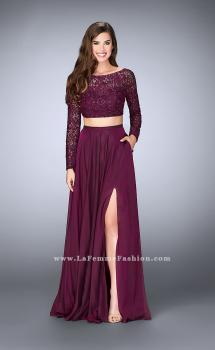 Picture of: Long Sleeve Two Piece Gown with Sheer Neckline in Purple, Style: 23937, Main Picture
