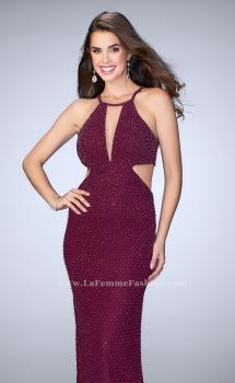 Picture of: Beaded Prom Dress with Side Cut Outs and Strappy Back in Purple, Style: 23941, Main Picture