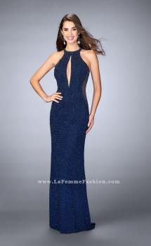 Picture of: Long Beaded Dress with Keyhole and Sheer Sides in Blue, Style: 23950, Main Picture