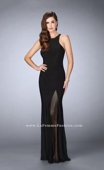 Picture of: Jersey Prom Gown with Fishnet Slit and Open Back, Style: 23956, Main Picture