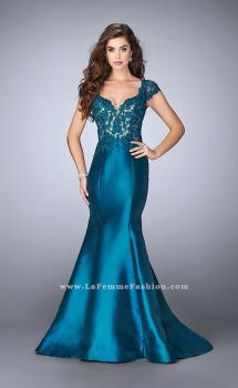 Picture of: Mikado Mermaid Dress with Lace Top and Cap Sleeves in Blue, Style: 23960, Main Picture