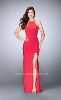 Picture of: Jersey Dress with Side Slit and Sheer Beaded Back, Style: 23962, Main Picture