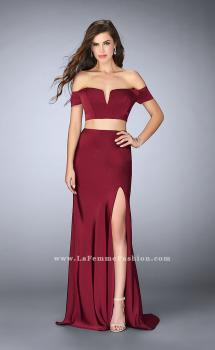 Picture of: Two Piece Off the Shoulder Prom Dress with Slit in Red, Style: 23963, Main Picture