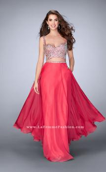 Picture of: Two Piece A-line Prom Dress with Beaded Cut Out Top, Style: 23966, Main Picture