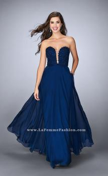 Picture of: Lace Scalloped Long Prom Dress with Pockets in Blue, Style: 23970, Main Picture