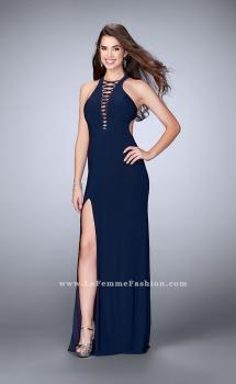 Picture of: Long Jersey Prom Dress with Lace Up Front and Back, Style: 23973, Main Picture