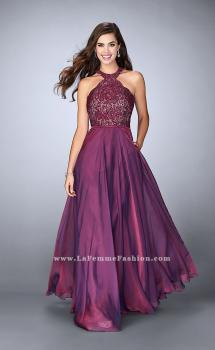 Picture of: Long High Collar A-line Prom Dress with Pockets in Purple, Style: 23975, Main Picture