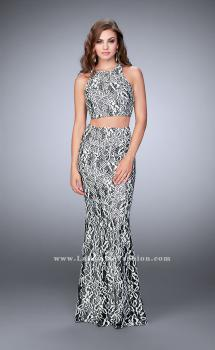 Picture of: Two Piece Multi-Colored Lace Dress with Racer Back in Black, Style: 23976, Main Picture