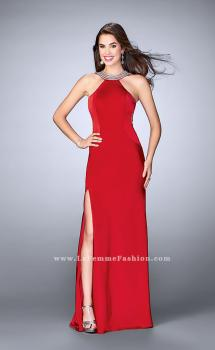 Picture of: High Neck Jersey Dress With Beading and Strappy Back in Red, Style: 23982, Main Picture