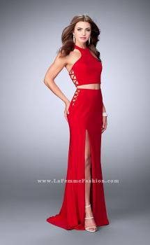 Picture of: Two Piece Dress with Lace Up Sides and Racer Back in Red, Style: 23984, Main Picture