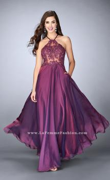 Picture of: A-line Chiffon Dress with Sheer High Neck Lace Top in Purple, Style: 23991, Main Picture