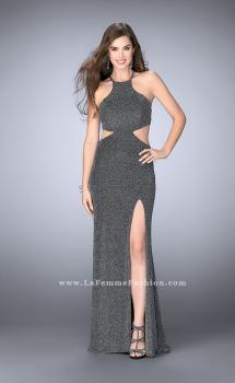 Picture of: Long Sparkly Jersey Prom Dress with Strappy Back, Style: 23992, Main Picture