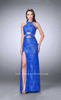 Picture of: Long Lace Prom Dress with Cut Outs and Racer Back in Blue, Style: 23999, Main Picture