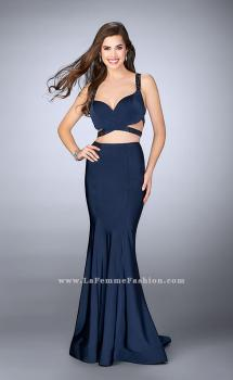 Picture of: Two Piece Jersey Dress with Beaded Strappy Back in Blue, Style: 24000, Main Picture