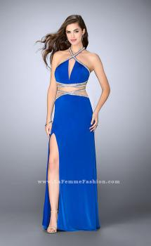 Picture of: Beaded Jersey Prom Dress with a Deep V Keyhole in Blue, Style: 24003, Main Picture