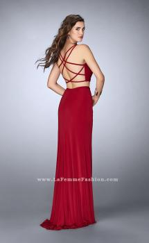 Picture of: Two Piece Gathered Jersey Dress with Side Slit in Red, Style: 24007, Main Picture