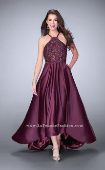 Picture of: High Low A-line Dress with Lace Top and Satin Skirt, Style: 24012, Main Picture