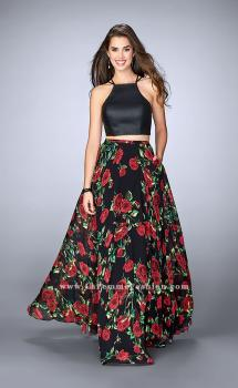 Picture of: Two Piece Floral A-line Dress with Vegan Leather Top in Print, Style: 24014, Main Picture