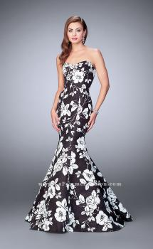 Picture of: Strapless Black and White Rose Print Prom Dress, Style: 24023, Main Picture