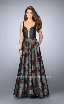 Picture of: Long A-line Rose Print Gown with Vegan Leather Top, Style: 24025, Main Picture