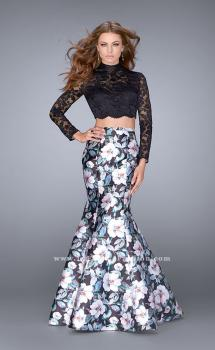 Picture of: Two Piece Mermaid Dress with Long Sleeve Lace Top in Print, Style: 24028, Main Picture