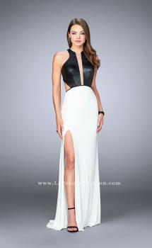 Picture of: Vegan Leather and Jersey Prom Dress with V Neck in White, Style: 24032, Main Picture